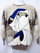 Albee VTG 80s Large Glam Girl Pop Art Sweater Patrick Nagel Style