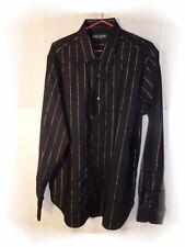 Bonita Camisa Elegante Negro De Rayas Plata Slim Fit Christian Lacroix T44