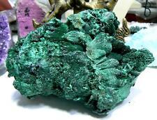 "RARE HUGE NATURAL DRUZY BRIGHT GREEN MALACHITE CRYSTAL SPECIMEN CONGO 5"" 520gr"