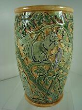"Weller RARE Selma Knifewood Gorgeous 7"" Vase w/Brown Owls, Squirrels, Blue Birds"