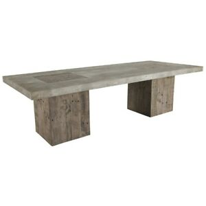"""66"""" W Hali Coffee Table Solid Reclaimed Pine Concrete Laminate Top Modern Rustic"""