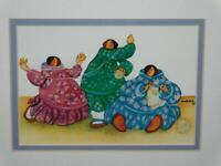 Barbara Lavallee Knit Three Together Art Card Print Eskimo Women Knitting Kuspuk