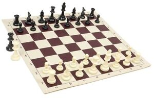 """Black & White Chess Pieces & 20"""" Burgundy Vinyl Board- Single Weighted Chess Set"""