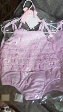 MUD PIE Baby Girls 9-12M Pink Ruffle BUBBLE Romper Seersucker NEW 9/12M