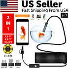 5M 6LEDs Snake Endoscope Borescope 8mm Inspection USB Camera Scope For Android