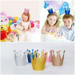 10x Colourful Glittery Paper Party Crowns Prince Princess Birthday Hats Dress Up