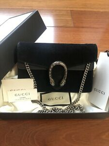 AUTHENTIC Gucci Super Mini Suede Crossbody Bag Black