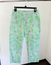 Vtg Lilly Pulitzer Alligator Floral Print Capris Cropped Pants Size 4 Green Pink