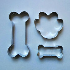 2 Size Dog Bone & Paw Biscuit Cookie Cutter Set Fondant Baking mold Set