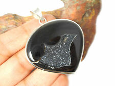 ONYX   DRUSY   Sterling  Silver  Gemstone  PENDANT  925  -  Gift  Boxed!