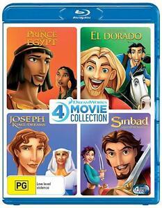 PRINCE OF EGYPT/ROAD TO EL DORADO/JOSEPH KING OF DREAMS/SINBAD Reg Free Blu-ray