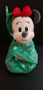 """Disney Parks Minnie Mouse Babies Christmas Holiday Plush Doll in Pouch Small 12"""""""