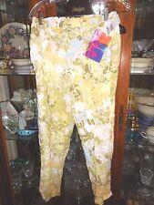 Jams World FAB NEW NWT XL drawstrg beach pants capri cropped Flower Paint Scrubs