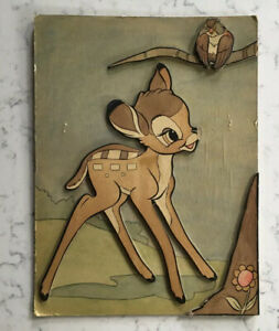 VINTAGE WALT DISNEY CHARACTER PLAK BAMBI YPS YOUNGSTOWN PRESSED STEEL