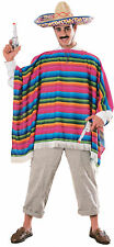 Mexican Serape & Sombrero Hat Mens Colourful Adults Costume Halloween Party