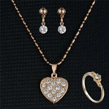 Wedding Bridal Jewelry Rhinestone Crystal Earring Statement Necklace Ring Set