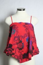 NWT Free People Women's GET YOUR LOVE Tank Red Floral Print Adjustable Strap S