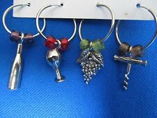 Set of 4 Wine Charms Wine Bottle,Wine Goblet, Grapes, Corkscrew Glass Beads