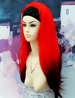 3/4 Wig Half Wig Straight Flaming Bright Red. Premium Vogue UK