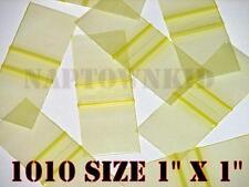 "100 Yellow Plastic Ziplock Coin Parts Baggies 1"" X 1"" Size 1010 Ziploc Closure"