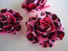 """20 Big Velvet Rose 4D Flower 2"""" Hand Made Brooch/Craft/Bow H165-Pink Leopard"""