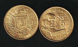 URUGUAY 5 PESOS 1976, BRUNO MAURICIO ZABALA,2 COINS ALUM/BRONZE UNC CONDITION