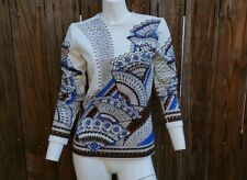 Vintage Women's 70's Shirt Blouse Polyester White Fan Blue Brown S M