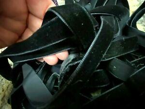 """Vintage 5/8"""" Velvet Ribbon Swiss 3 yds Black 16mm Made in Switzerland"""