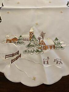 Winter Scene Christmas Embroidered Table Runner Cut Work White & Gold; Snow Deer
