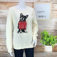 Ann Taylor LOFT Womens Sweater Christmas French Bulldog Cream Knit Pullover Sz L