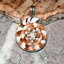 Brown White Coiled Shell 925 Silver Pendant - Indian