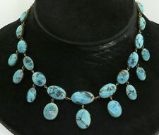 Heavy vintage 14K yellow gold natural turquoise formal necklace