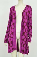 GUDRUN SJODEN Cardigan Purple Polka Dots Open Front Size L