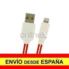 Cable Plano Valido para iPhone iPad iPod Carga-Datos Rojo 1m con Luz Led a1777