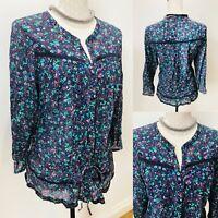 Ladies GAP Boho Blouse Shirt Top Floral Red Blue Large Cotton 22'' Chest Tunic
