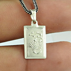 Indian HANDMADE Jewelry 925 Solid Sterling Silver Zodiac Pendant A80
