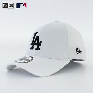 New Era 39Thirty Stretch Fit Cap MLB LA Dodgers Diamond Rubber Logo Weiß Sale