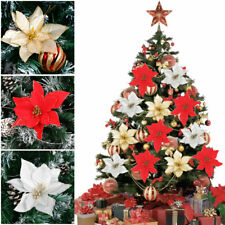 6/10 Christmas Poinsettia Glitter Flower Butterfly Tree Hanging Xmas Party Decor