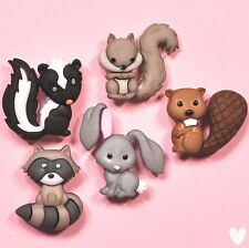 DRESS IT UP Buttons Backyard Buddies 8311 - Squirrel Rabbit Skunk Beaver Racoon