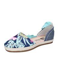 scarpe donna O-JOO sandali espadrillas blu tela flowers lady BR120