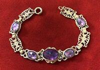 Vintage Antique Czech Brass Filigree & Purple Faceted Glass Cabs Bracelet