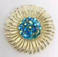 Signed Lisner Rhinestone Brooch Blue Aurora Borealis Stones Vintage Jewelry