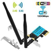 1200Mbps Wireless Adapter Bluetooth Receiver For PC Card WLAN Desktop PCI-E K2O3
