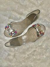 Slip On Rhinestone Flat Jellies Jelly Sandal. Open Toe Flats Size 8