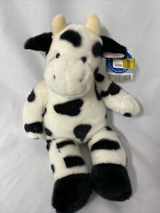 "NEW Build a Bear Floppy Black White Cow 18""  Plush Stuffed Animal Moo Sound"