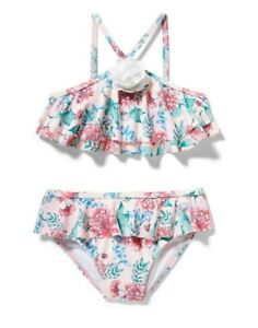 NWT Janie and Jack Girls White Ruffle Swimsuit Black Floral Print Size 10