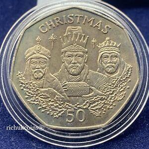 [1988 GIB Xmas]1x Gibraltar Christmas 50p Standard Finish Coin 3 Wise Men UNC