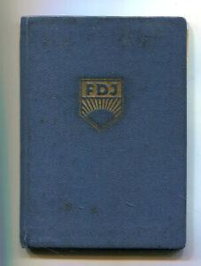 FDJ  Ausweis der Freien Deutschen Jugend   der DDR  Voll mit Marken 1954