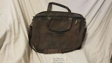 Toshiba Brown Leather Briefcase Laptop Computer Travel Shoulder Bag Heavy Duty