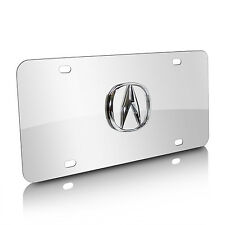 Acura 3D Logo on Chrome Stainless Steel Metal Auto License Plate